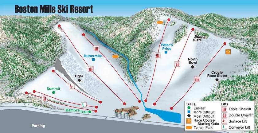 Boston Mills Brandywine Ski Resort Boston Mills Ski Trail Map - Us map of ski resorts