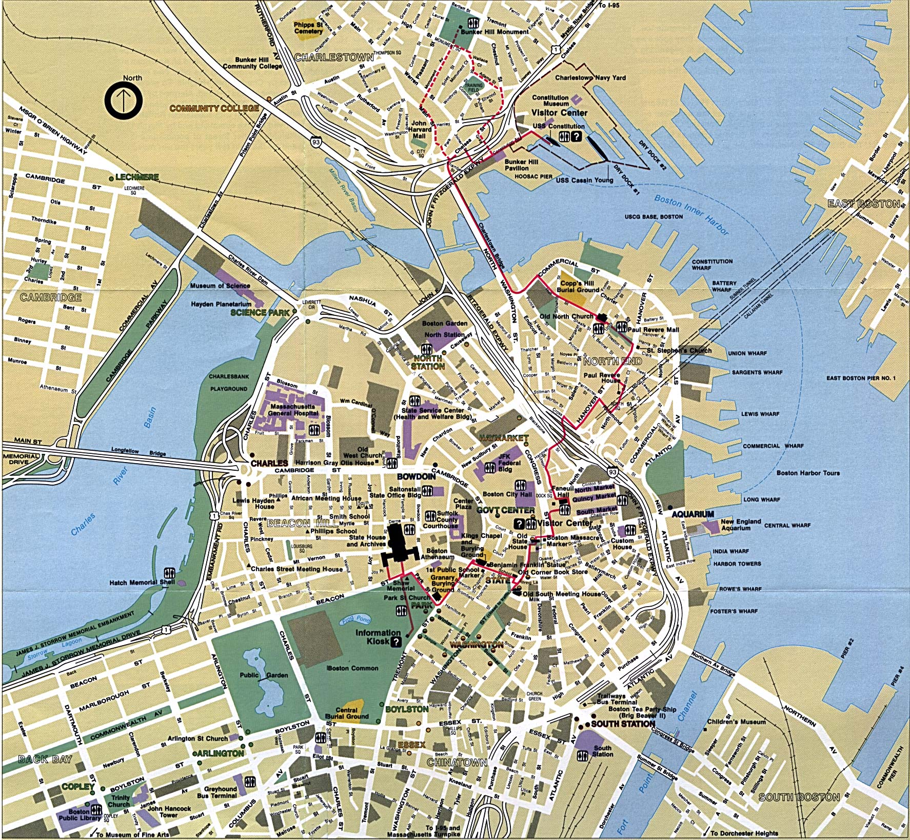 Boston Attractions Map – Boston Tourist Attractions Map