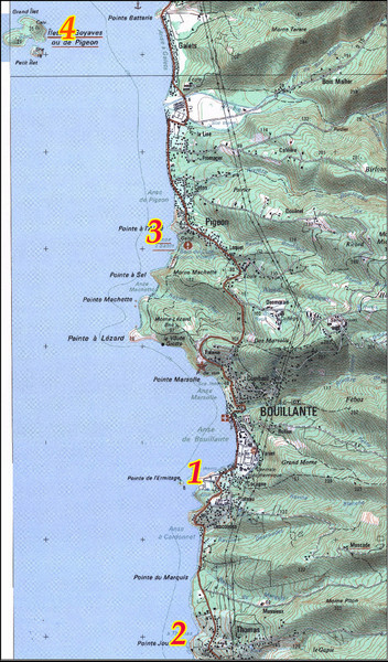 Bouillante West Coast Topo Map