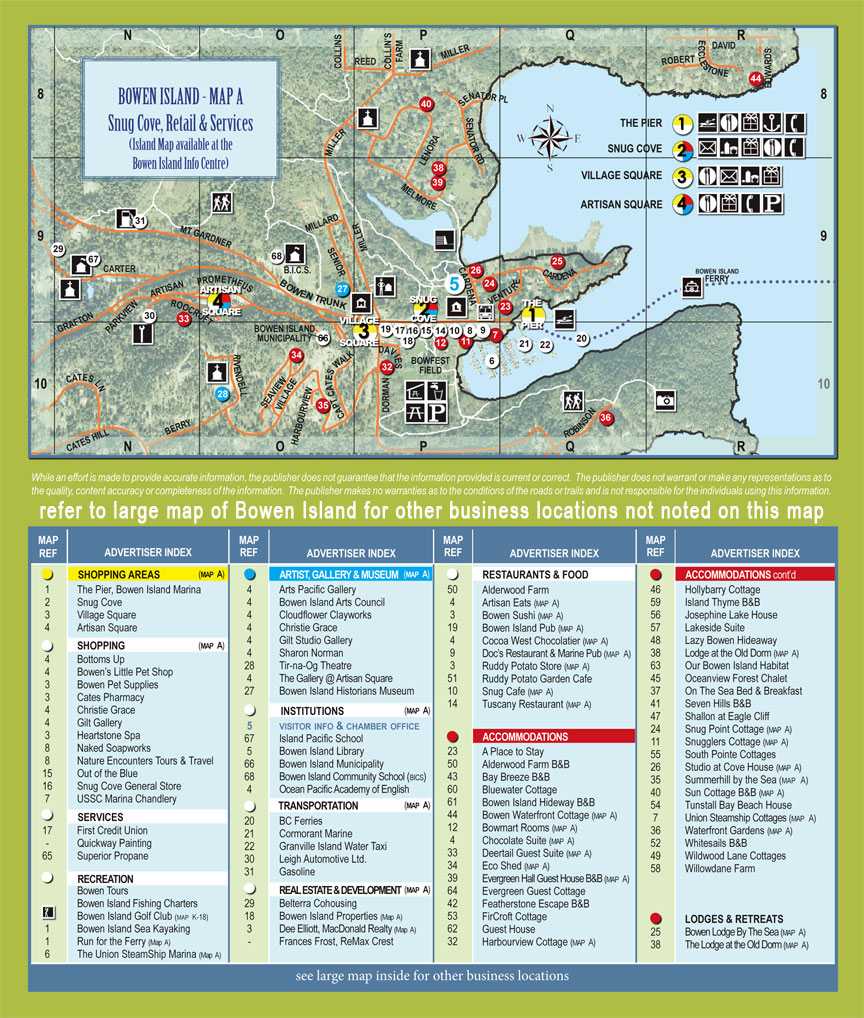 Bownen island tourist map see map details from bowenisland org