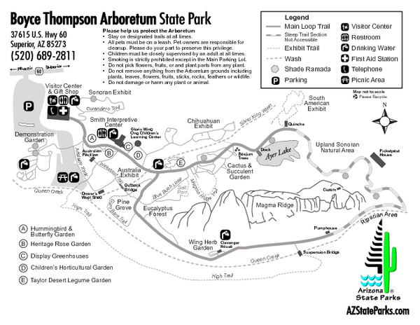 Boyce Thompson Arboretum State Park Map