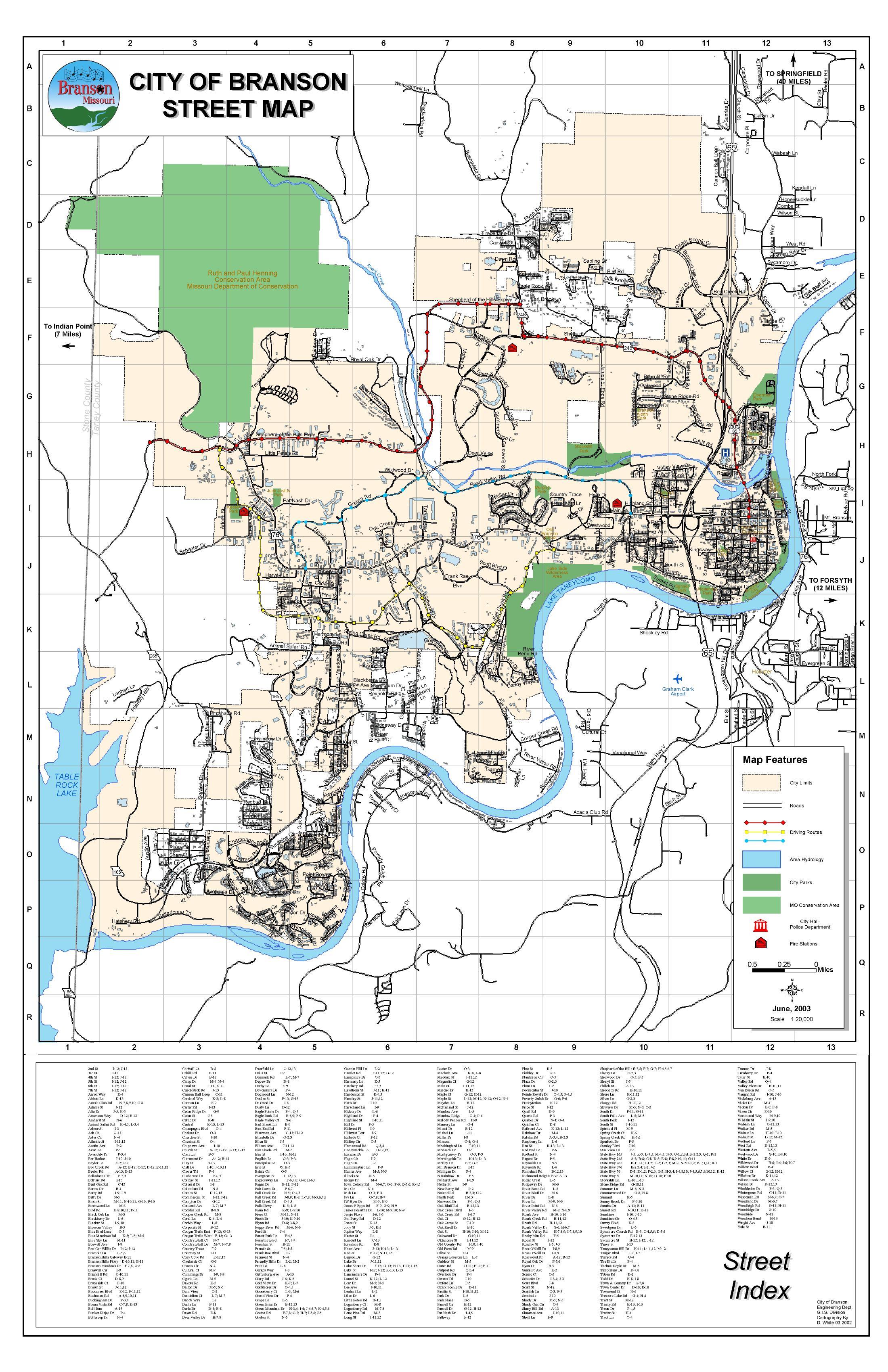 Branson Street Map  Branson Missouri  Mappery