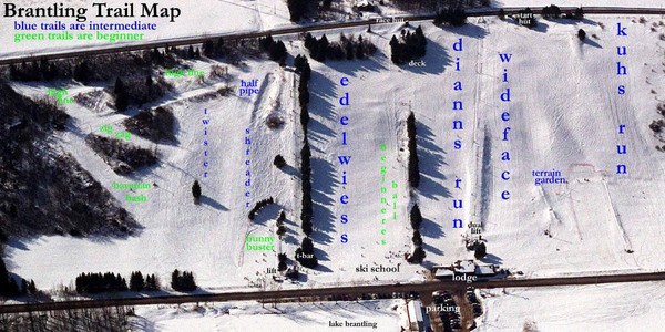 Brantling Ski Slopes Ski Trail Map