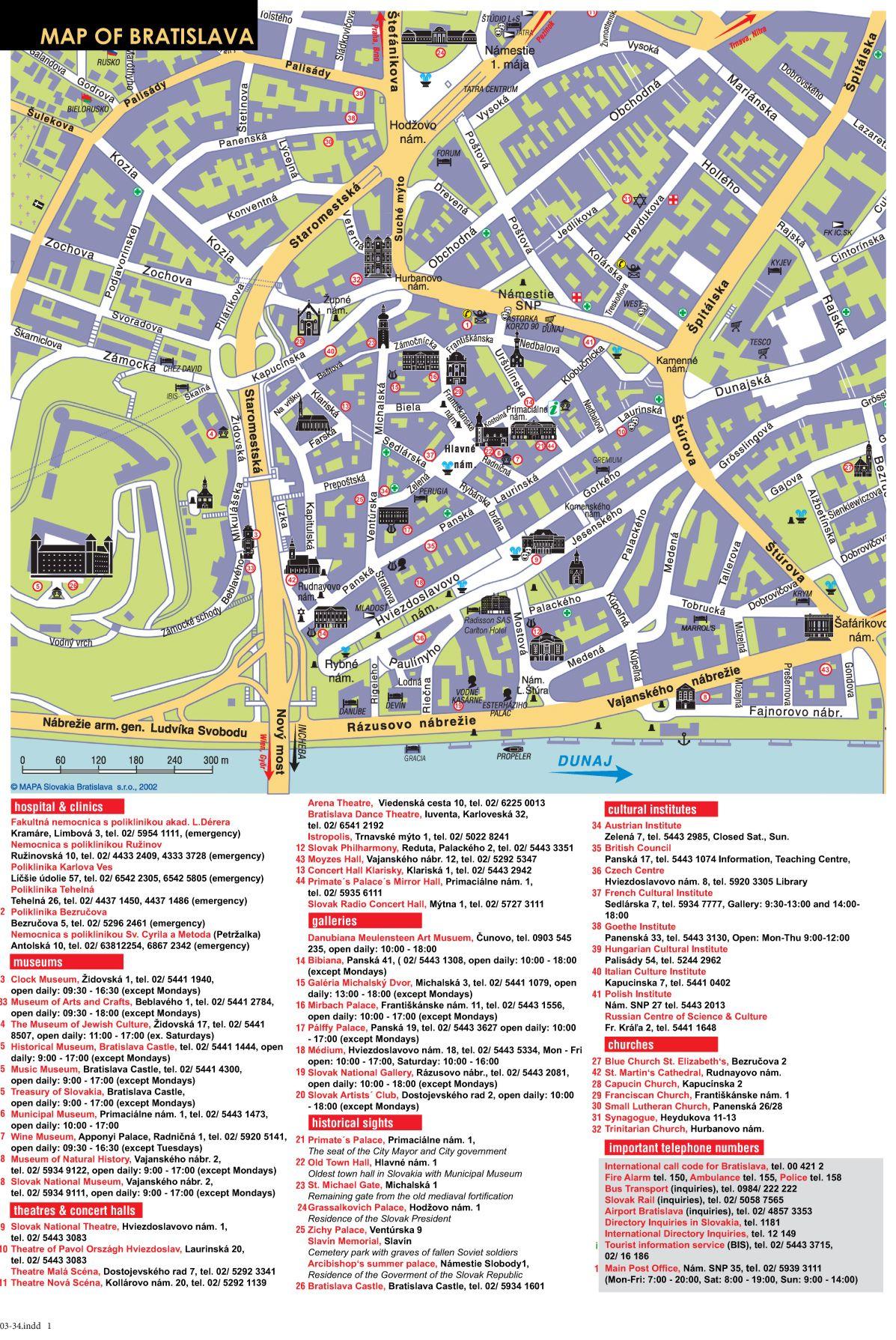 Bratislava Tourist Map Bratislava Slovakia mappery
