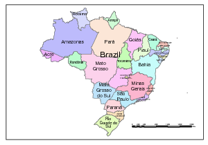 Brazil Map; Editable in Illustrator