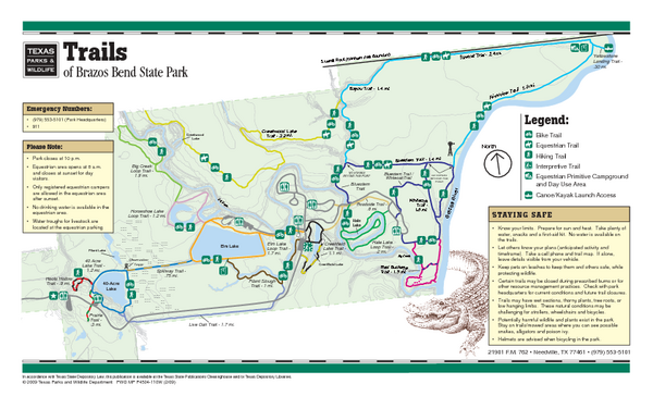 Brazos Bend, Texas State Park Trail Map