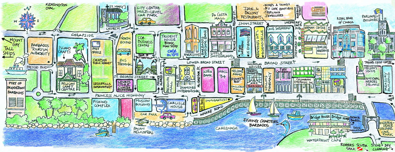 Bridgetown Tourist Map Bridgetown Barbados mappery