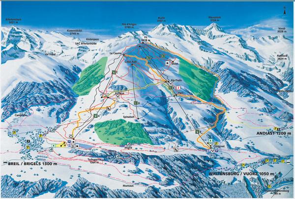 Brigels Ski Trail Map Brigels Switzerland mappery