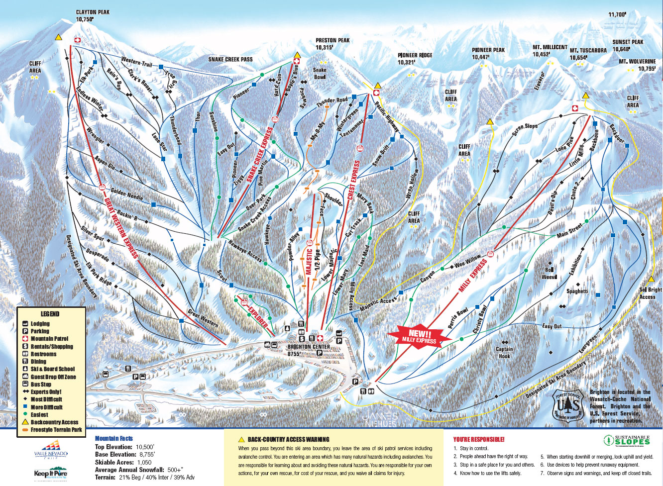 Brighton Ski Area Trail Map 12601 E Big Cottonwood Canyon Road