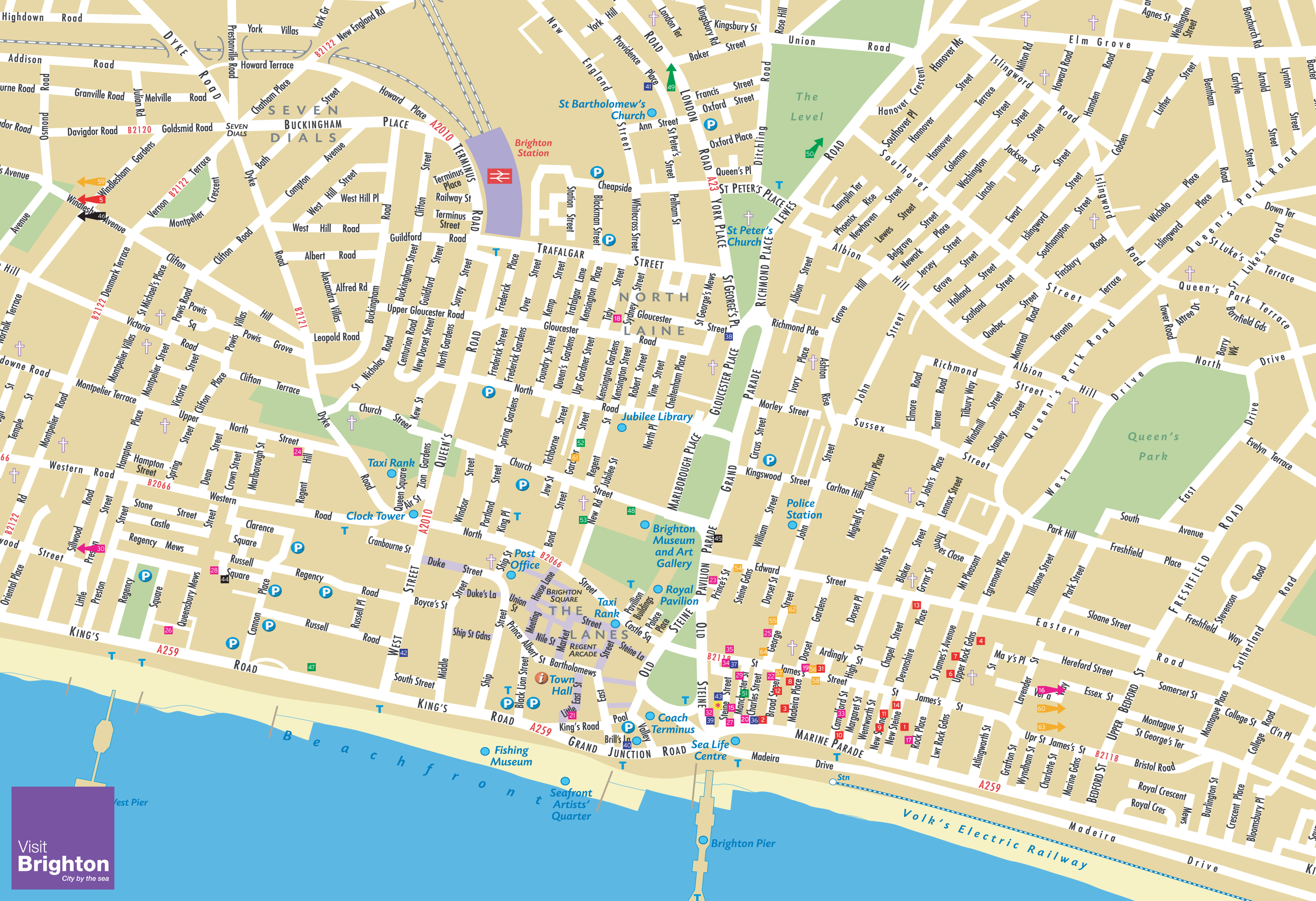 brighton tourist map  brighton uk • mappery -