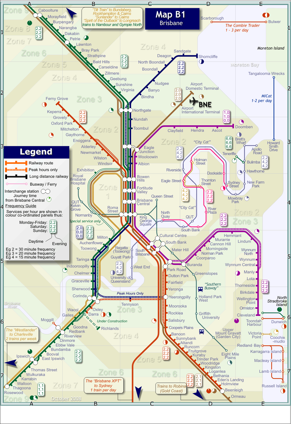 Brisbane Rail Map Brisbane Australia mappery