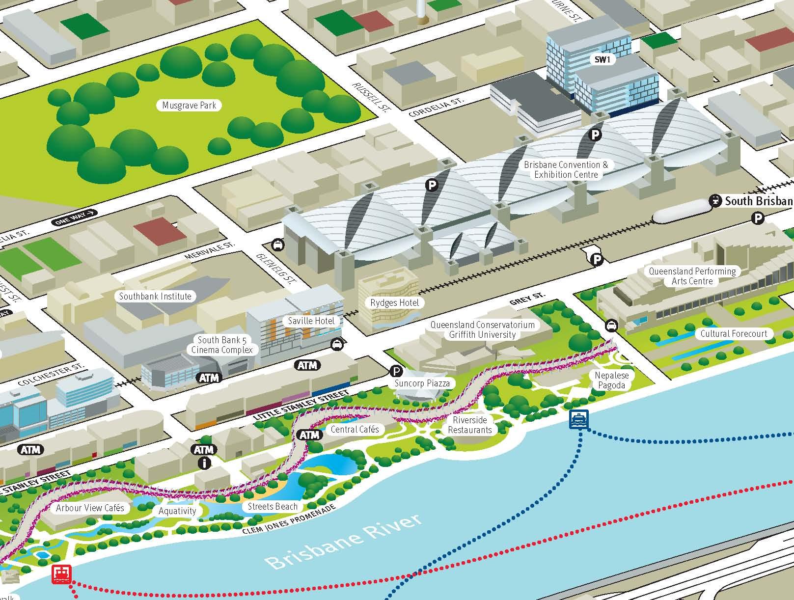 Brisbane South Bank Tourist Map South Bank Brisbane Australia