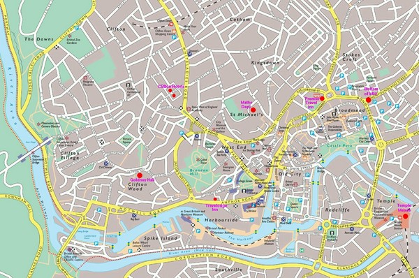 Bristol Centre Map Bristol UK mappery