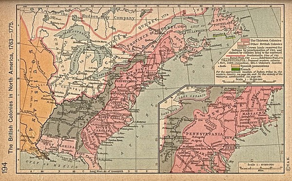 British Colonies Historical Map United States Mappery - Map of us in 1776