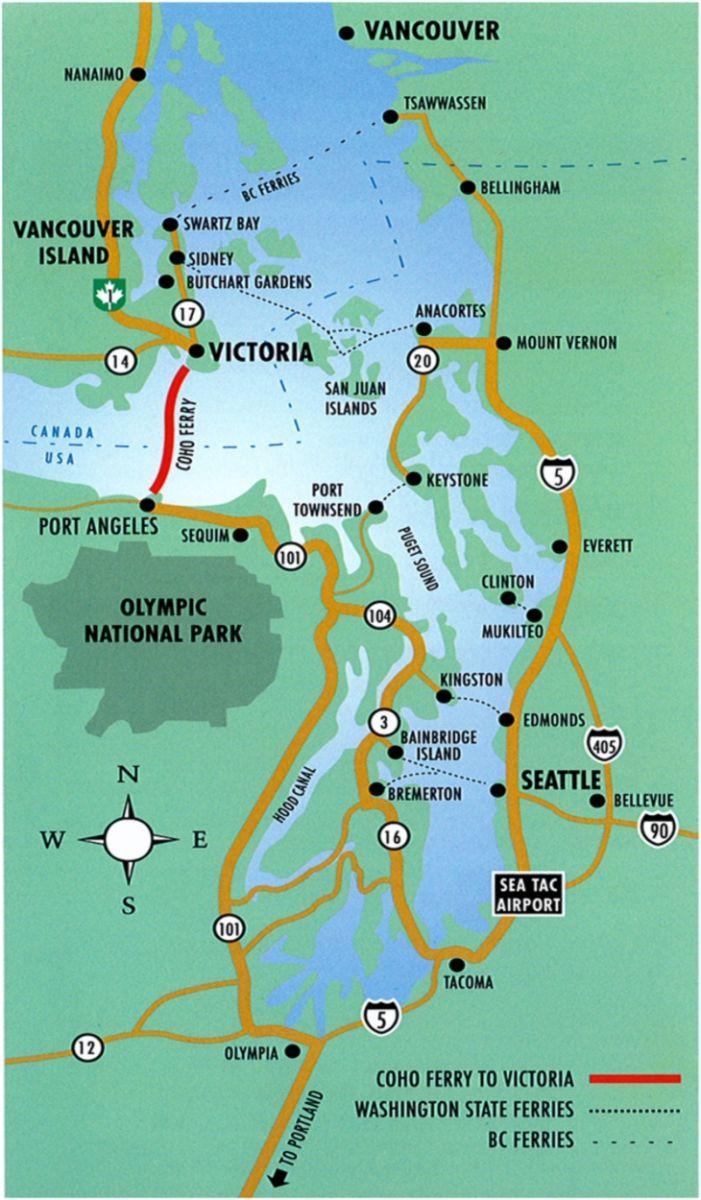 British Columbia Canada Tourist Map - Victoria British