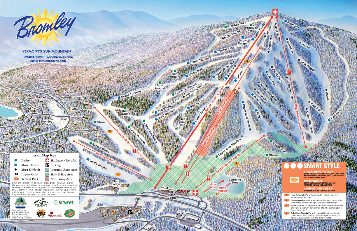 Bromley Mountain Ski Trail Map Peru Vermont United States Mappery - Map Of Mountain Ranges In Us