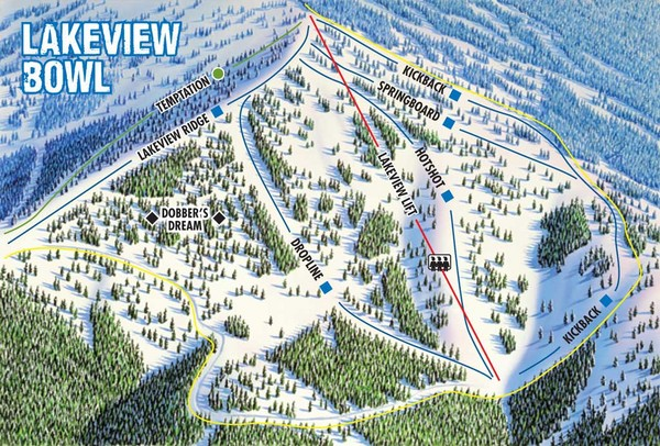 Brundage Mountain Resort Lakeview Bowl Ski Trail Map