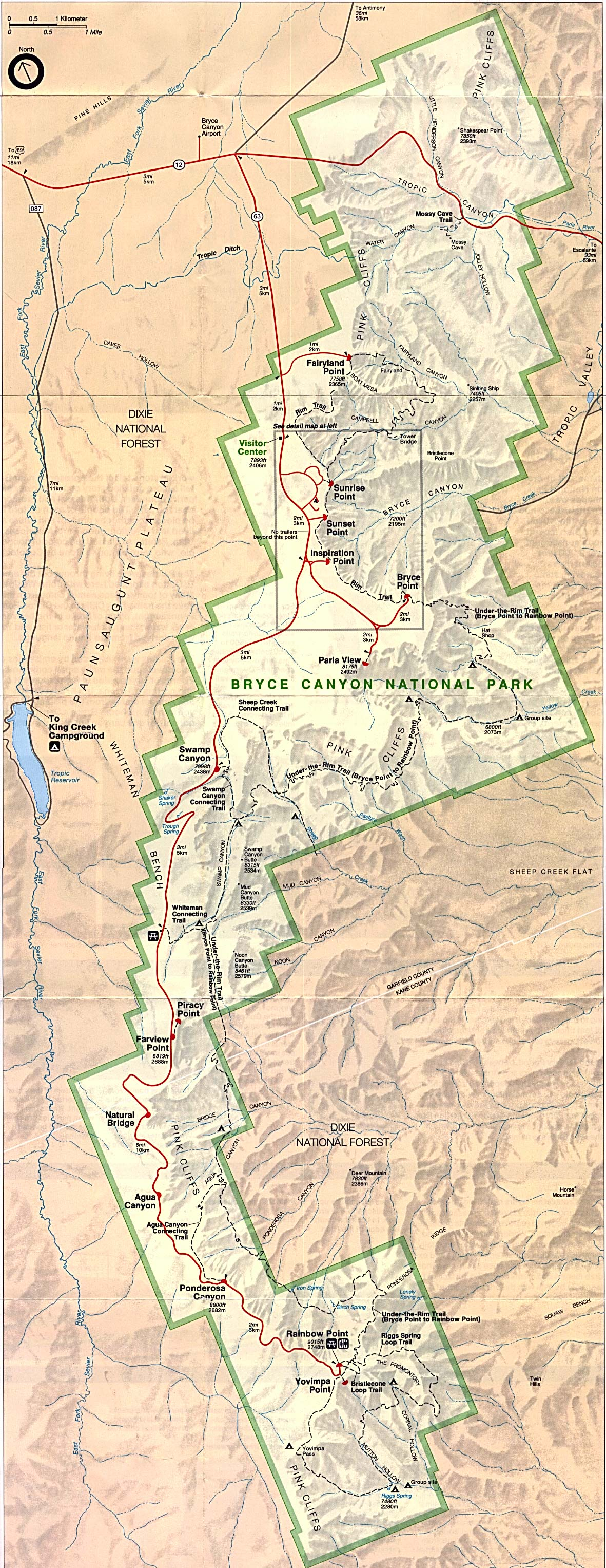 bryce canyon national park map bryce canyon maps npmapscom just