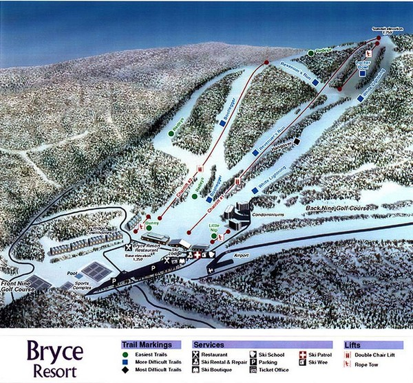 Skiing Virginia Map.Bryce Resort Ski Trail Map Virginia United States Mappery