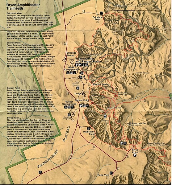 Brycec Canyon National Park Map Bryce Canyon National Park Map