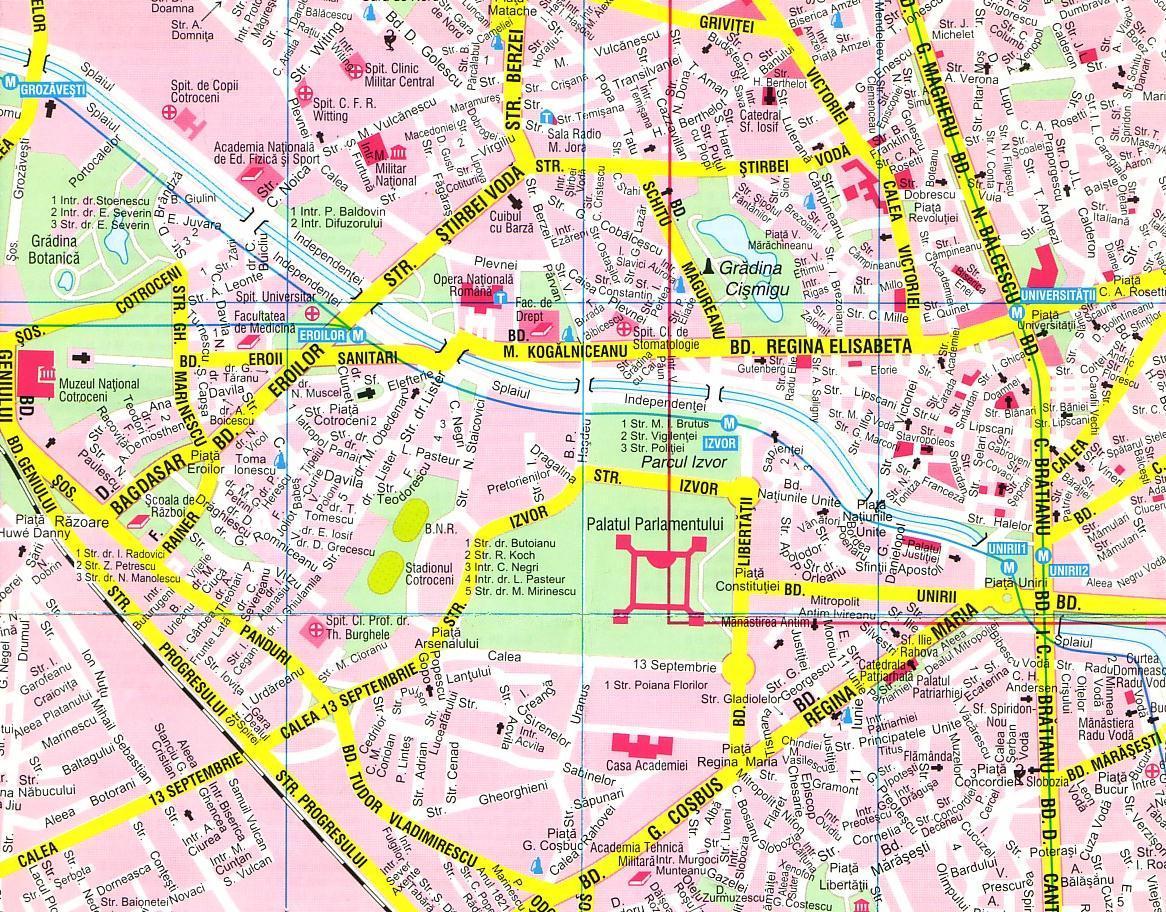 Bucharest Street Map Bucharest Romania Mappery