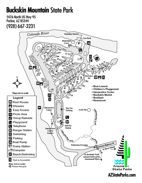 Buckskin Mountain State Park Map