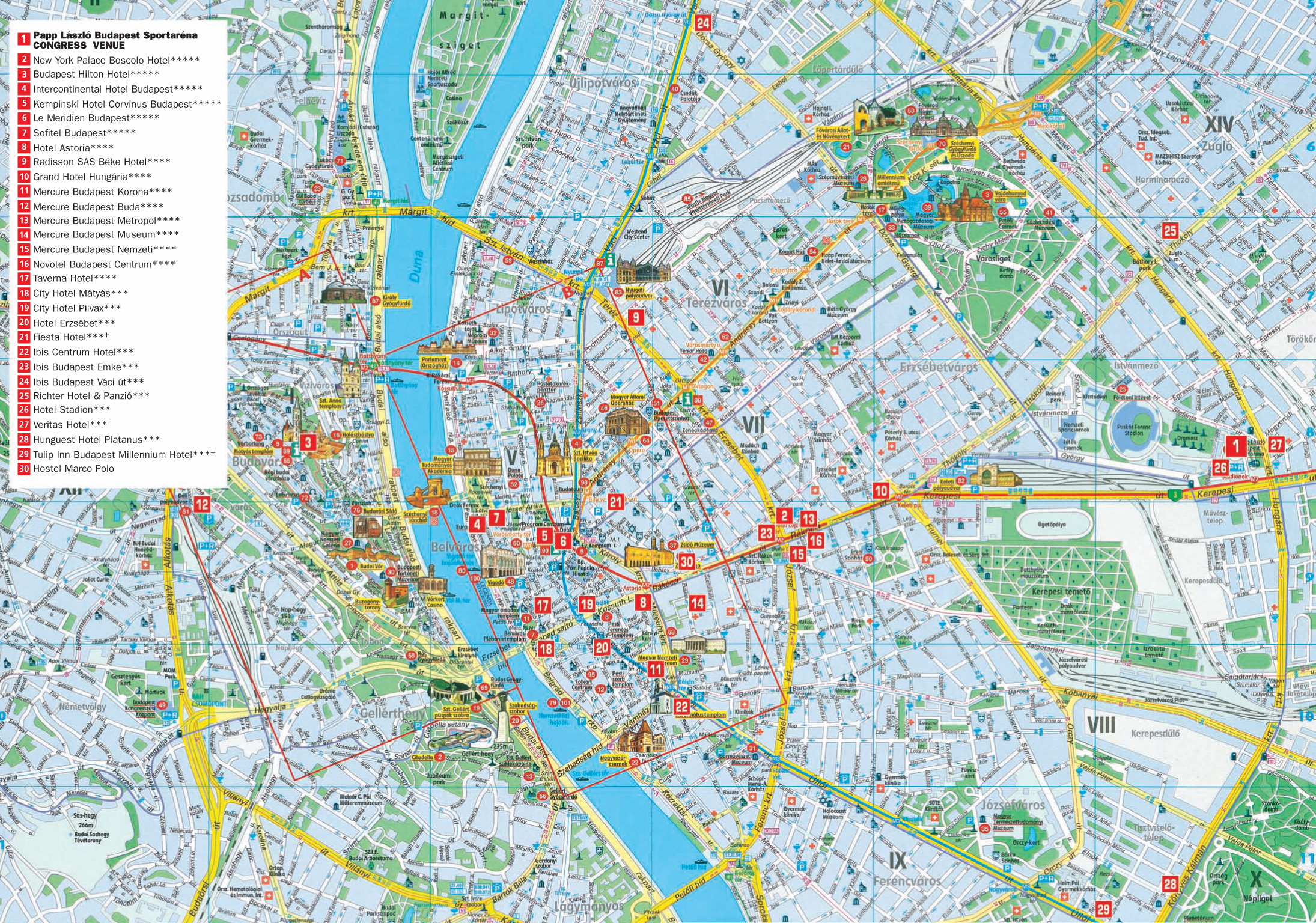 Budapest Hotel Map - Budapest Hungary • mappery