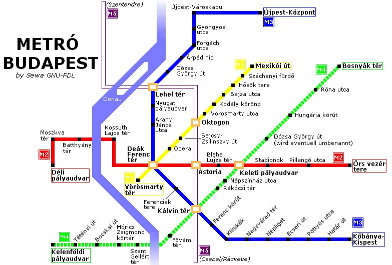 Budapest Metro Map Budapest Mappery
