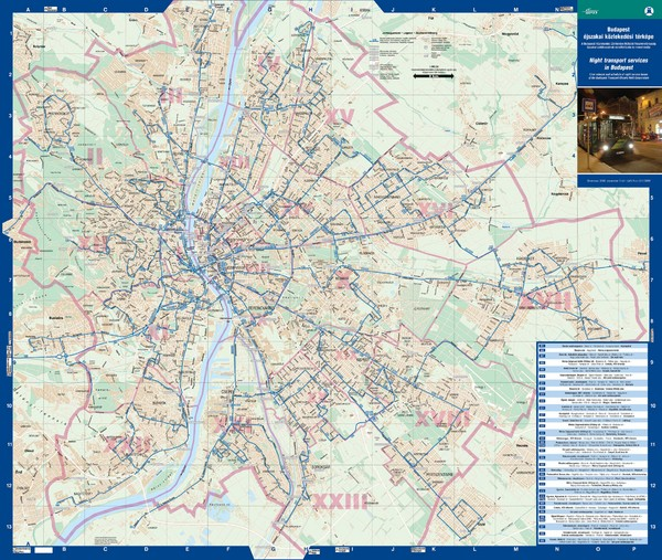 Budapest Night Bus Routes Map