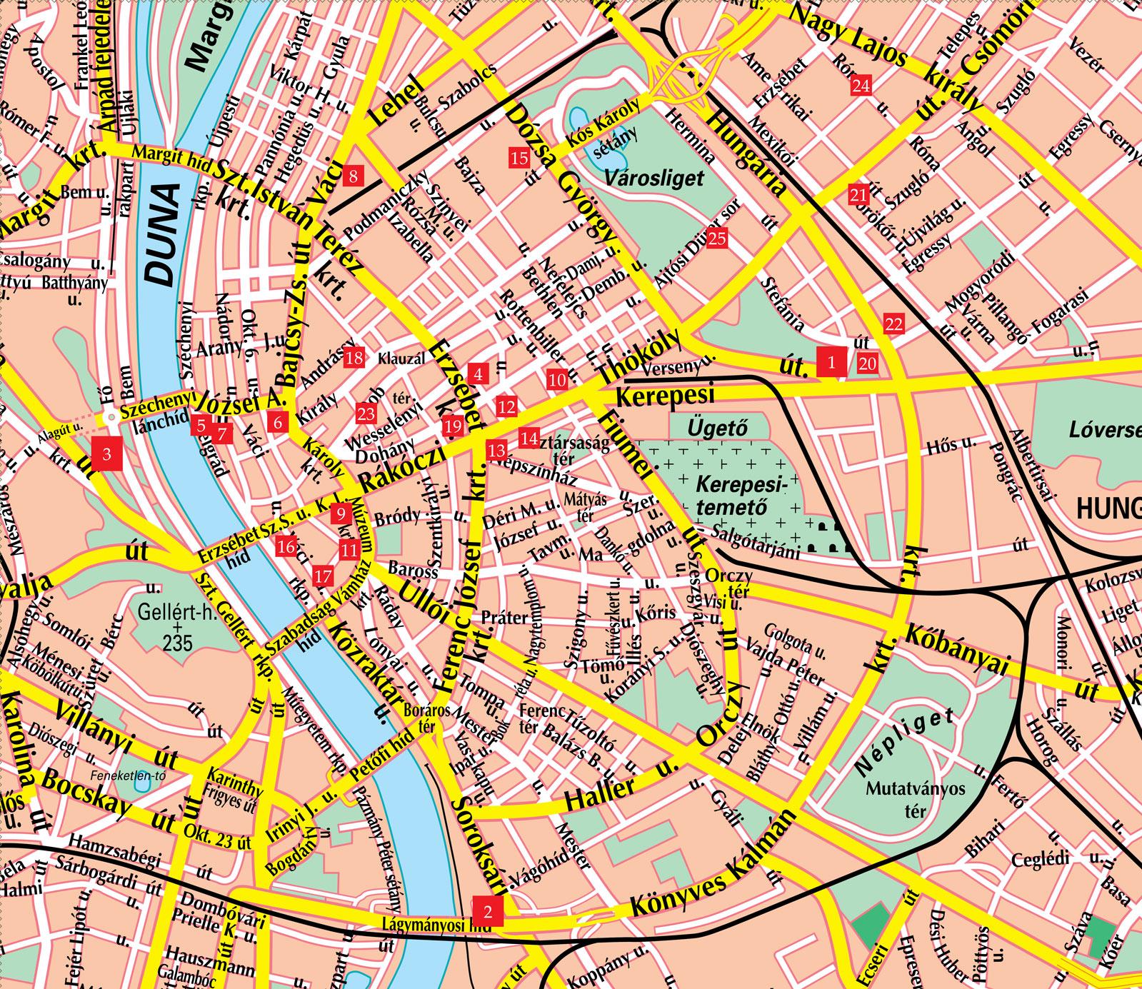 Budapest Street Map - Budapest Hungary • mappery