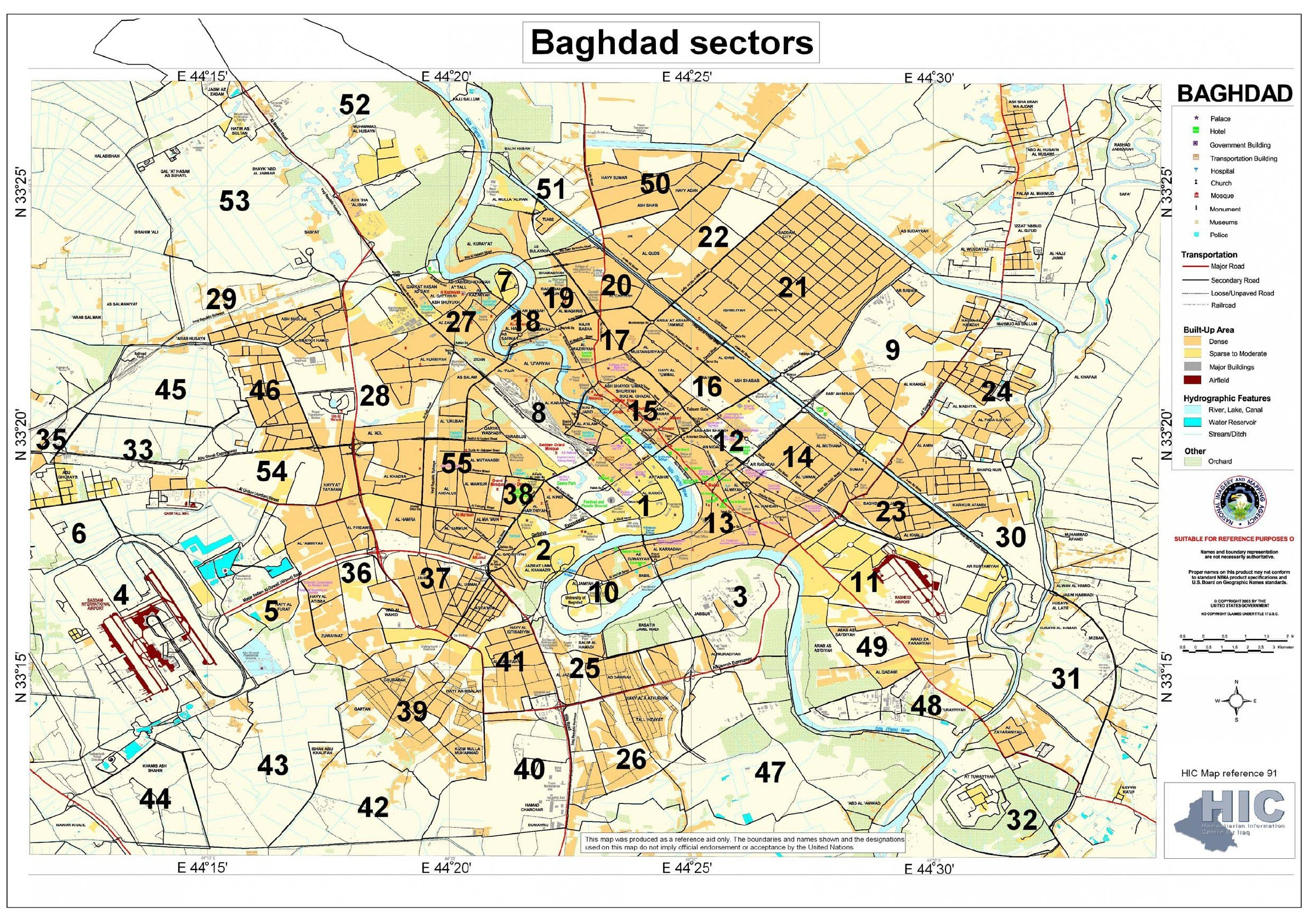 Built Up Areas and Sectors in Baghdad Map Baghdad mappery
