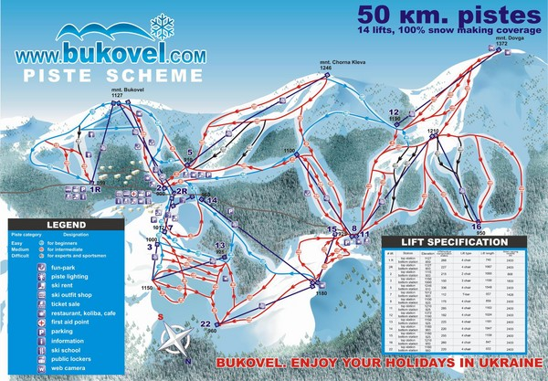 Bukovel Ski Resort Map
