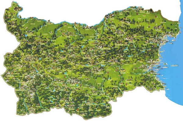 Bulgaria Sightseeing Map Bulgaria mappery