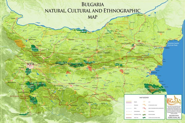 Bulgaria - natural, cultural places Map