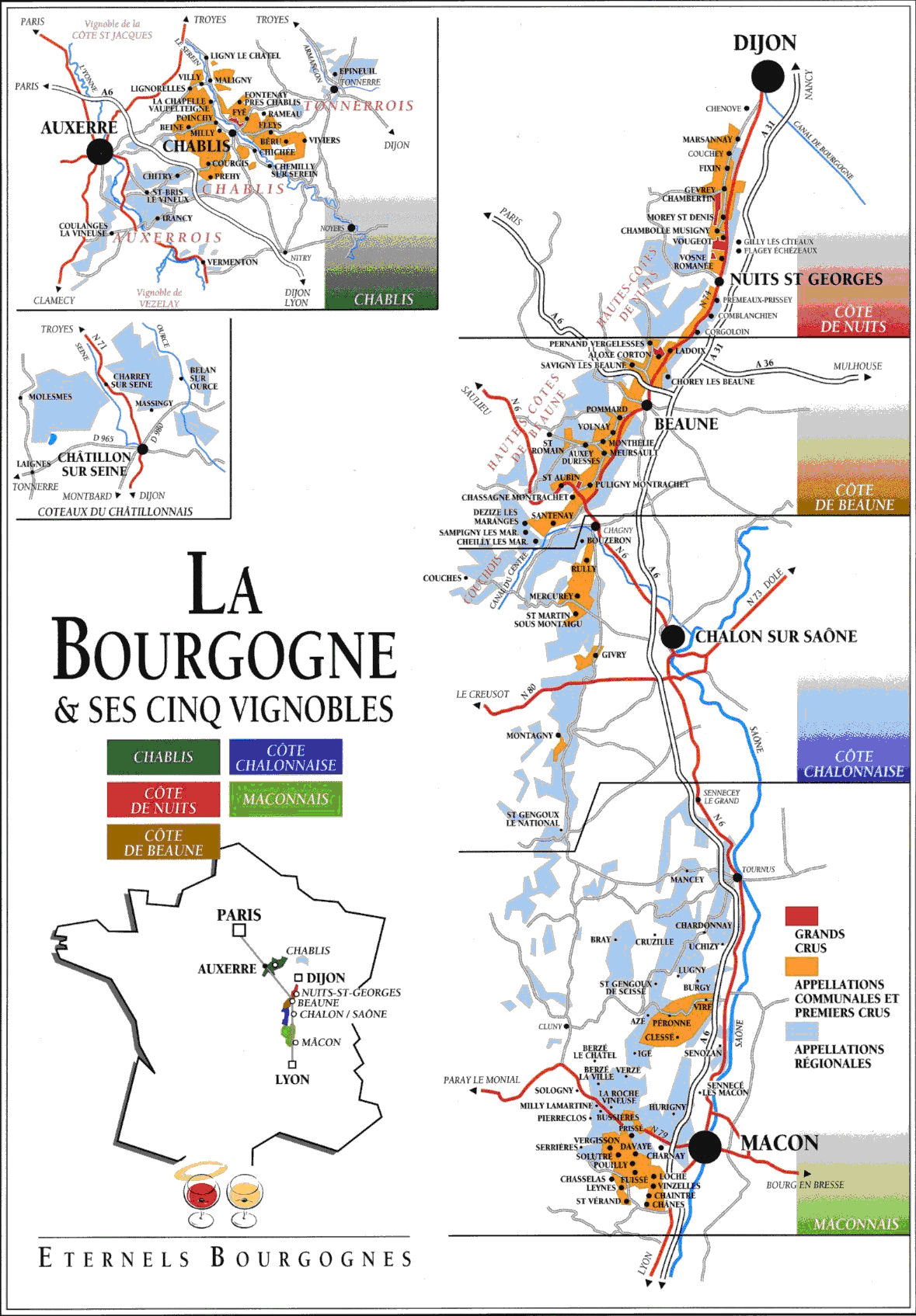 Districts Of France Map.Burgandy Region Wine Districts Map Dijon France Mappery
