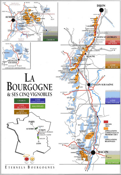 Burgandy Region Wine Districts Map
