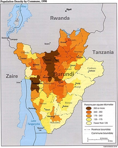 Burundi Population Density Map
