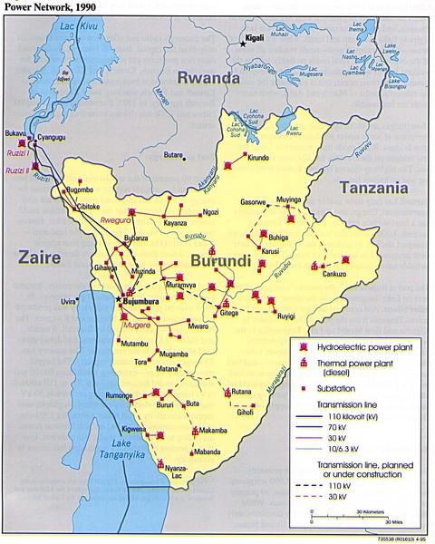 Burundi Physical Map mappery