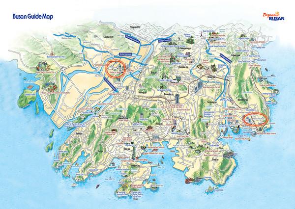 Busan tourist map busan south korea mappery fullsize busan tourist map gumiabroncs Choice Image
