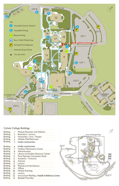Ca±ada College Campus Map Cantildeada College Redwood City CA