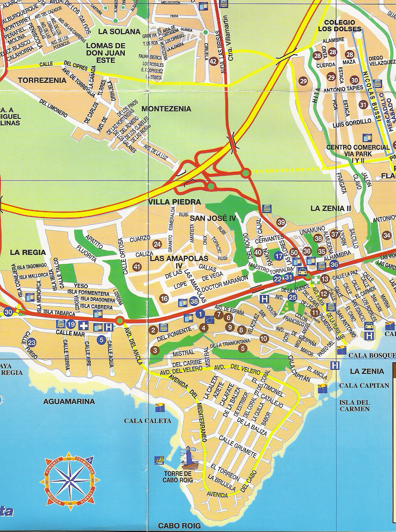 Cabo Roig Tourist Map Cabo Roig Spain Mappery