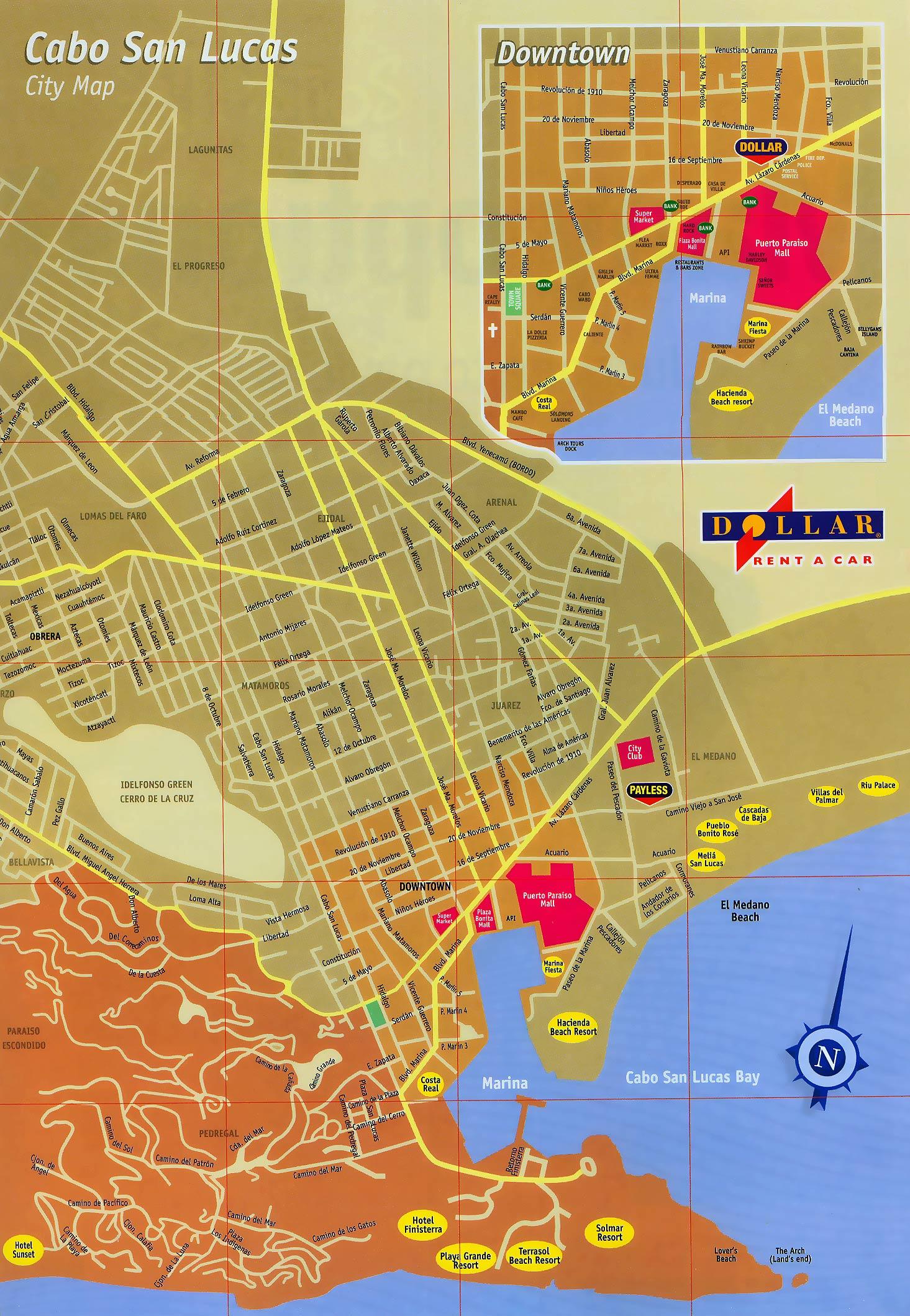 Cabo San Lucas Mexico Map to Cabo San Lucas Map Cabo San