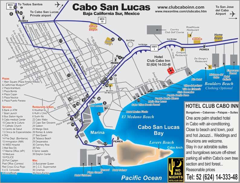 Cabo San Lucas Mexico Map to Cabo San Lucas Tourist Map