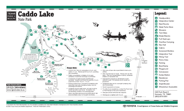 Caddo Lake Texas State Park Facility and Trail Map - Caddo ... on pontotoc lake map, woodward lake map, tawakoni lake map, seminole canyon map, mead lake map, degray lake map, wyandot lake map, mountain creek lake map, pedernales state park satilite map, caney creek reservoir map, el reno lake map, woods lake map, weatherford lake map, livingston lake map, lake fork map, murray lake map, jim chapman lake map, coleman lake map, marshall tx city map, brandy branch reservoir map,