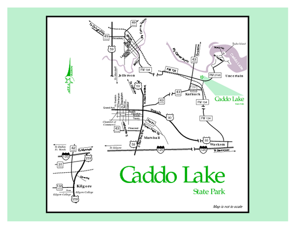 Caddo Lake, Texas State Park Map