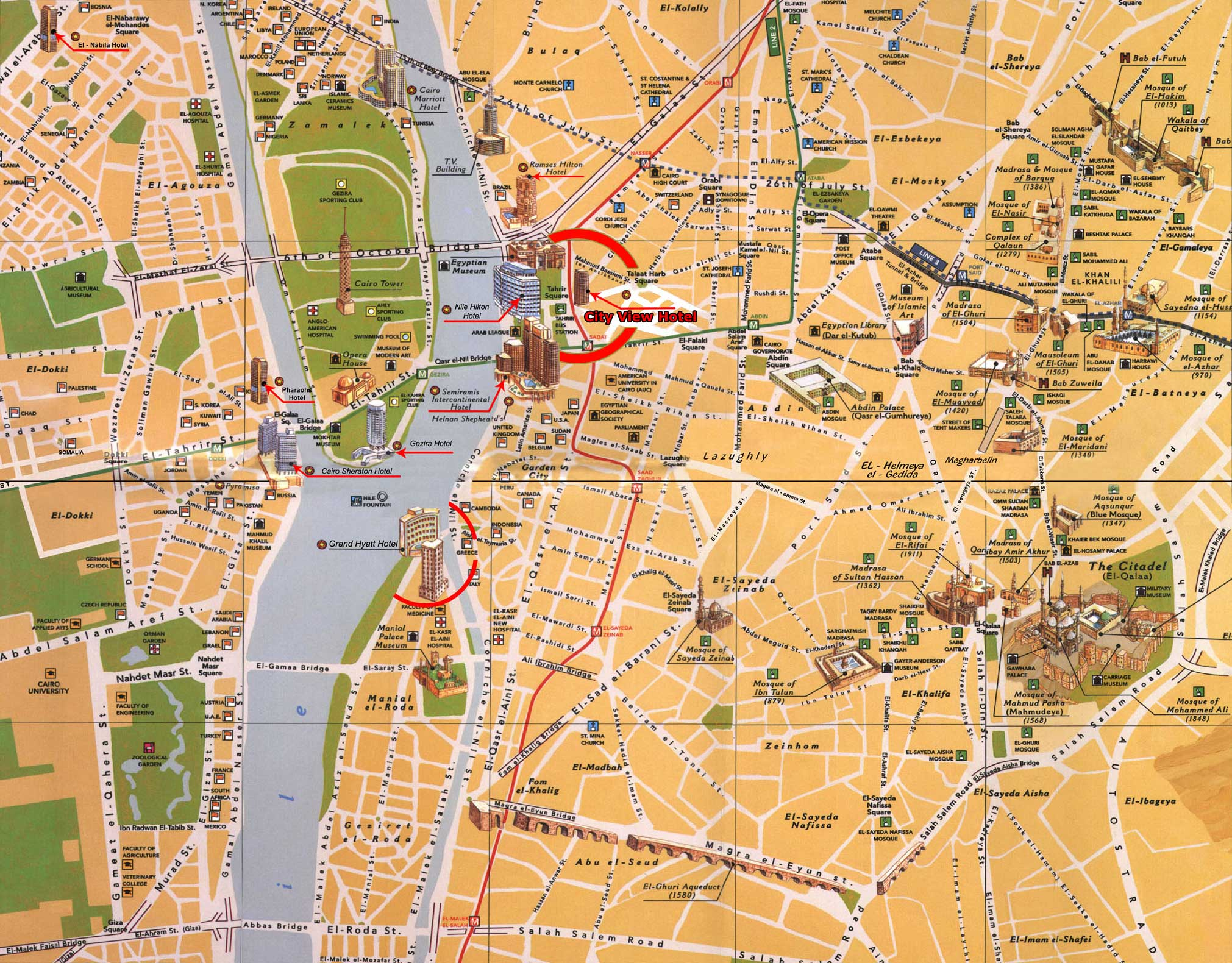 Cairo Egypt Tourist Map - Cairo • mappery Cairo Map