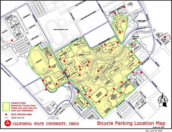 California State University Chico Bike Parking Map Chico California Usa Mappery