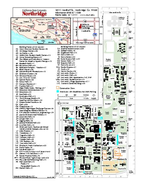 acc northridge campus map California State University At Northridge Map Northridge Ca acc northridge campus map