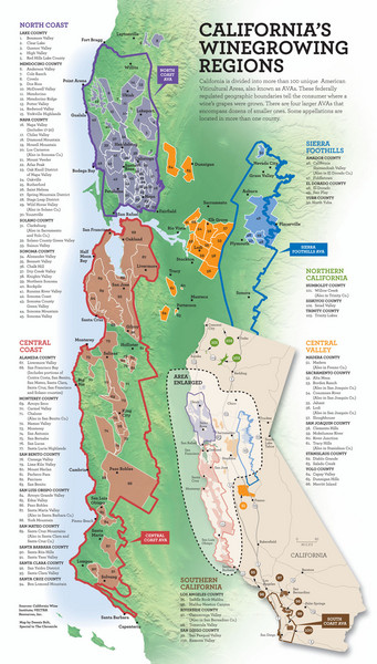 California Wine Map - California • mappery on