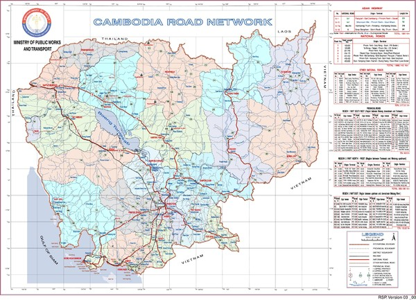 Cambodian National Road Map (also Index to Provience Road Maps)